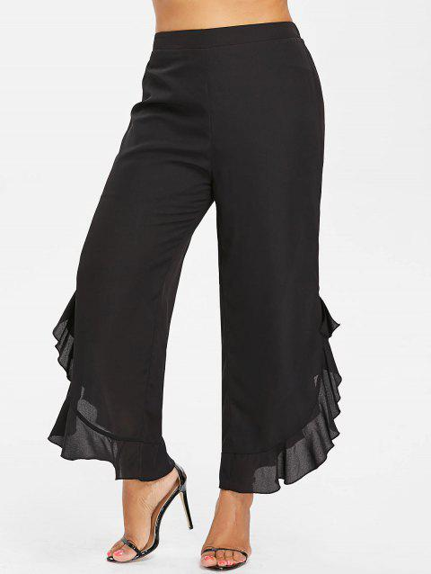 Plus Size Ruffle Trim Wide Leg Pants - BLACK 4X