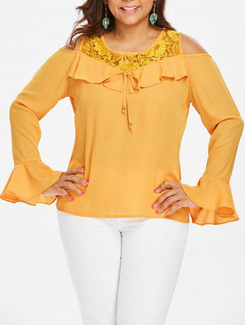 Plus Size Open Shoulder Lace Ruffle Blouse - BEE YELLOW 1X