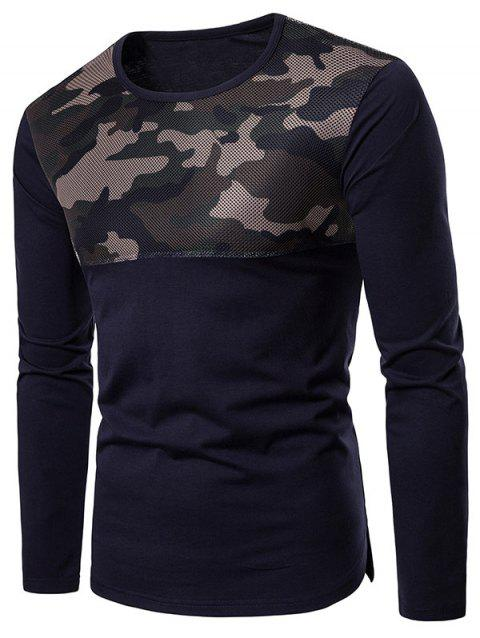 Camouflage Mesh Patchwork Casual T-shirt - CADETBLUE L