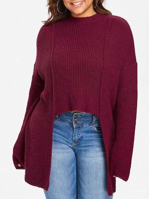Plus Size Drop Shoulder High Low Sweater - RED WINE 3X