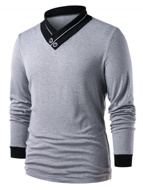 Long Sleeve Button Embellished Color Block T-shirt - GRAY XL