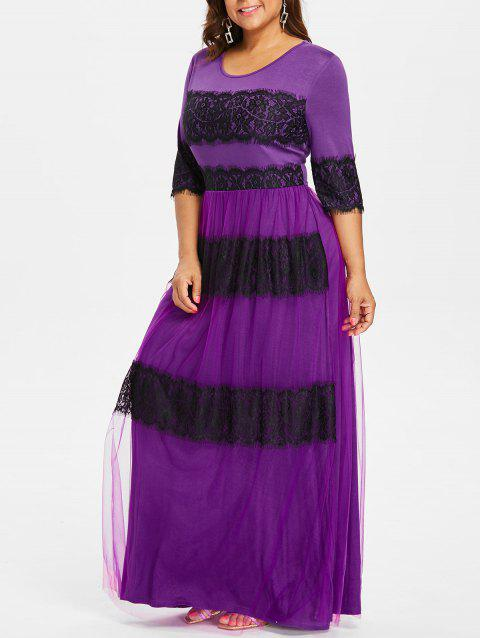 Plus Size Two Tone Lace Maxi Dress - PURPLE 5X