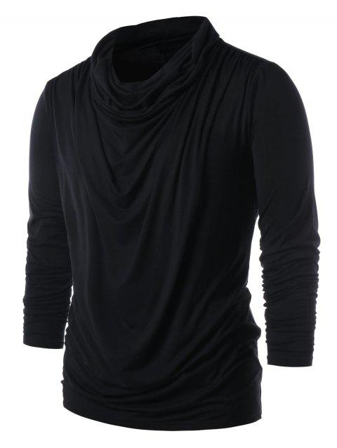 Solid Color Pile Heap Collar T-shirt - DARK SLATE GREY L
