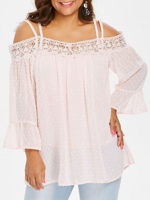 Back Criss Cross Lace Insert Plus Size Blouse - LIGHT PINK 3X