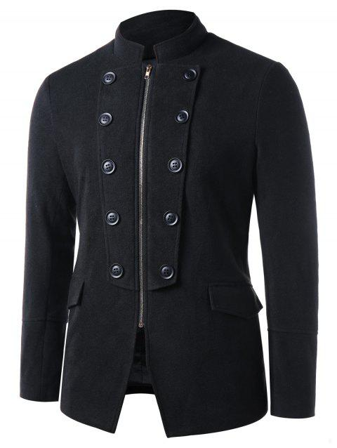 Stand Collar Double Breasted Zip Up Blazer - BLACK L