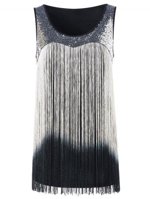ea0c1afd396 17% OFF  2019 Fringed Sequin Ombre Color Tank Top In BLACK