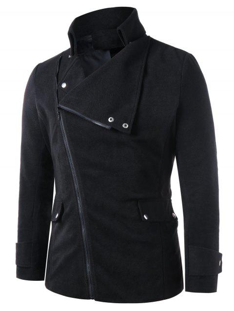 Zip Up Flap Pockets Stand Collar Coat - BLACK L