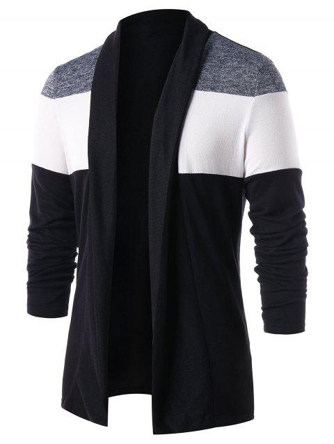 Casual Open Front Color Block Cardigan - BLACK M