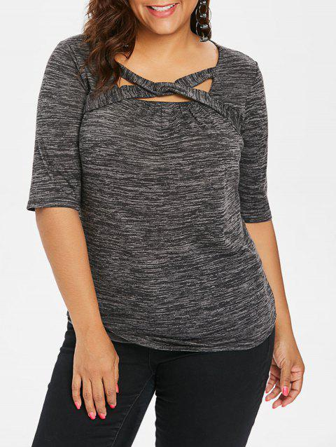Plus Size Marled Square Neck T-shirt - DARK GRAY 2X