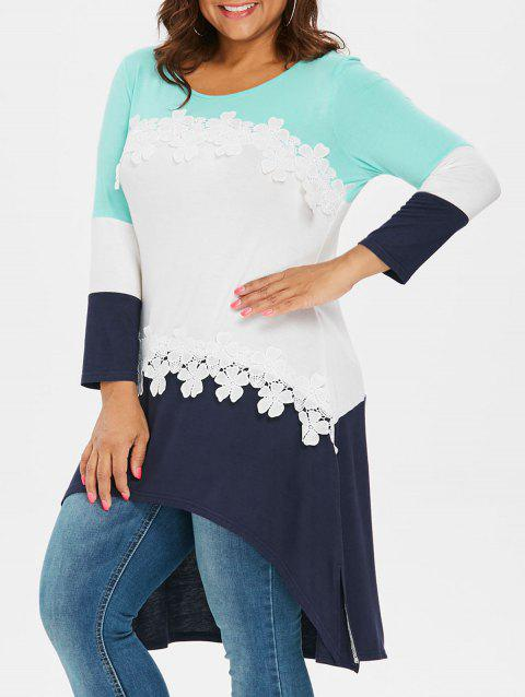 Plus Size Color Block High Low T-shirt - multicolor L