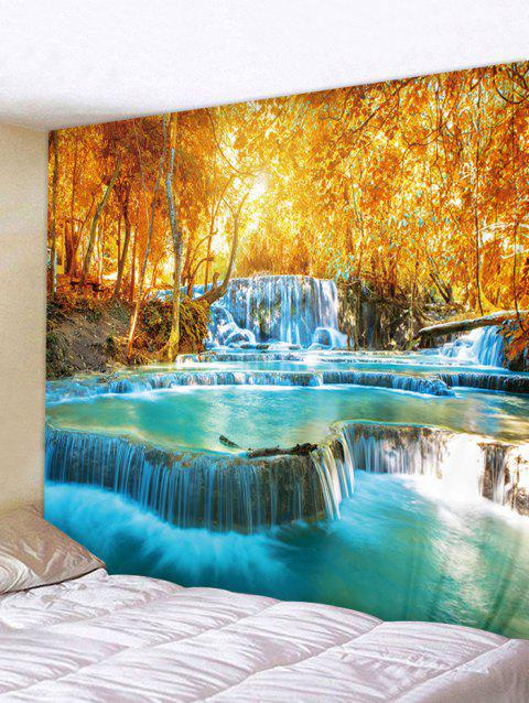 Maple Forest Waterfall Print Tapestry Wall Art - multicolor W91 INCH * L71 INCH