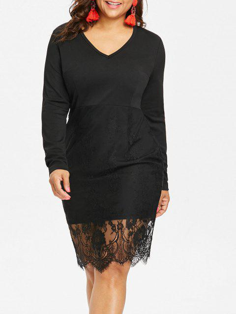 Plus Size Lace Trim Midi Bodycon Dress - BLACK 5X