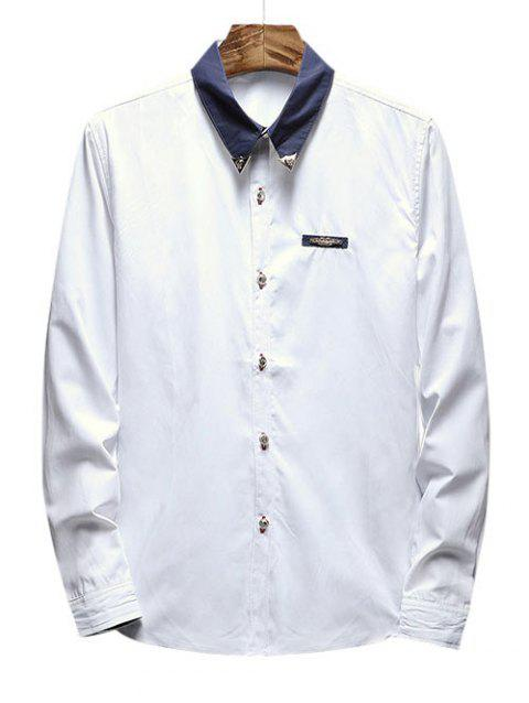 Chest Metal Embroidery Edge Contrast Shirt - WHITE M