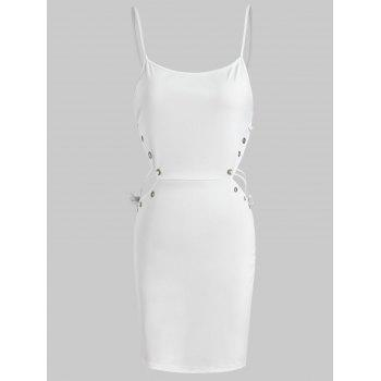 Side Cut Out Mini Dress - WHITE S