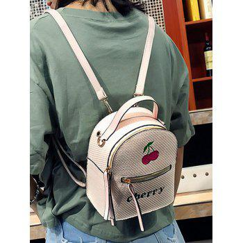 Top Handle Fruit Letter Embroidery Backpack - BEIGE