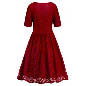 Lace Knee Length Dress - RED M