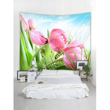 Wall Decor Fresh Flowers Printed Hanging Tapestry - PINK W59 INCH * L51 INCH