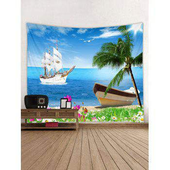 Sea Ship Flowers Landscape Printed Wall Art Tapestry - DAY SKY BLUE W79 INCH * L59 INCH