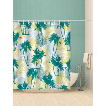 Tropical Palm Trees Print Waterproof Shower Curtain - multicolor W59 INCH * L71 INCH