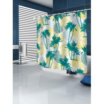 Tropical Palm Trees Print Waterproof Shower Curtain - multicolor W65 INCH * L71 INCH