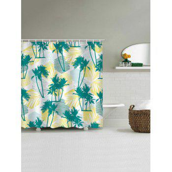 Tropical Palm Trees Print Waterproof Shower Curtain - multicolor W71 INCH * L71 INCH