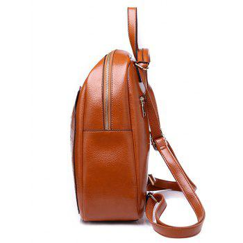 Faux Leather Embossing Chic Portable Backpack - BROWN