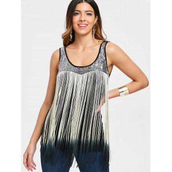 Fringed Sequin Ombre Color Tank Top - BLACK 2XL