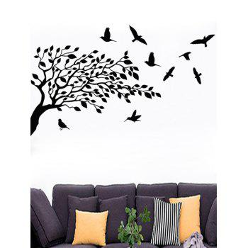 Tree and Birds Print Wall Art Stickers - BLACK