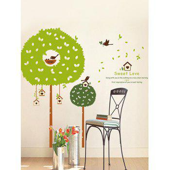 Cartoon Tree House Print Wall Stickers for Bedroom - GREEN 24 X 36 INCH