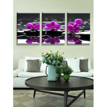 Butterfly Orchid Print Split Canvas Wall Paintings - multicolor 3PC:12*18 INCH( NO FRAME )