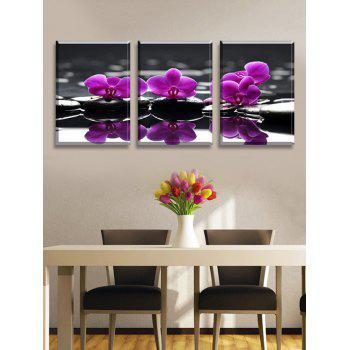 Butterfly Orchid Print Split Canvas Wall Paintings - multicolor 3PC:16*24INCH(NO FRAME)