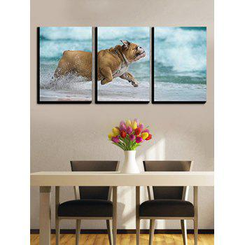 Pet Dog Ocean Print Unframed Canvas Wall Prints - multicolor 3PC:12*18 INCH( NO FRAME )