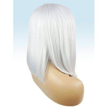 Center Parting Medium Straight Cosplay Lace Front Synthetic Wig - WHITE