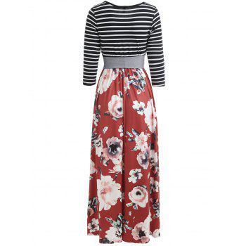 Floral Print Striped Panel Maxi Dress with Belt - CHESTNUT RED M