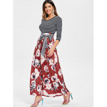 Floral Print Striped Panel Maxi Dress with Belt - CHESTNUT RED L