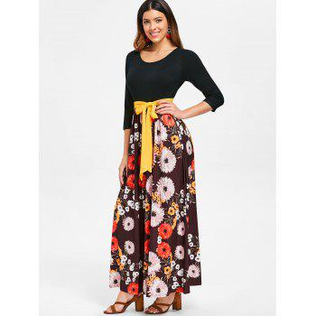 Floor Length Floral Print Dress - COFFEE 2XL