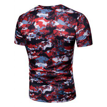 Camo 4 Buttons Decor Crew Neck Short Sleeve T-shirt - RED WINE L