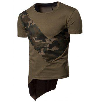 Camo Mesh Patchwork Irregular Hem T-shirt - ARMY GREEN XL