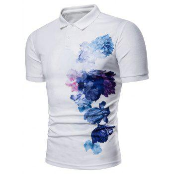 Side Flowers Painting Print Soft Polo Shirt - WHITE XL