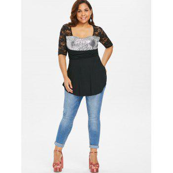 Plus Size Sequins Lace Asymmetric Blouse - BLACK 3X