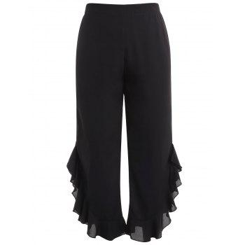 Plus Size Ruffle Trim Wide Leg Pants - BLACK 2X