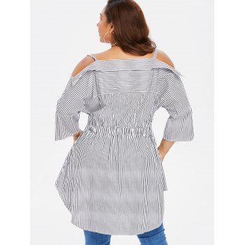 Plus Front Knot Striped Blouse - WHITE 5X