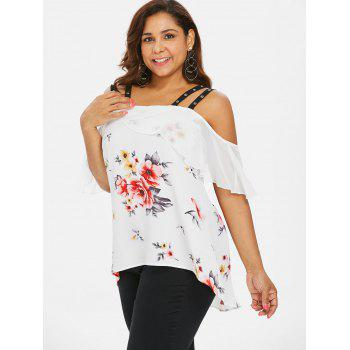 Plus Size Grommets Embellished High Low Blouse - WHITE L