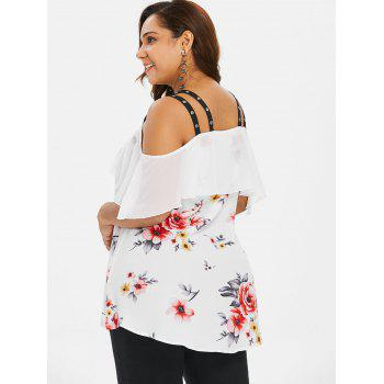 Plus Size Grommets Embellished High Low Blouse - WHITE 2X