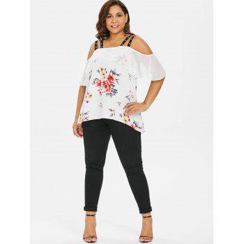 Plus Size Grommets Embellished High Low Blouse - WHITE 3X