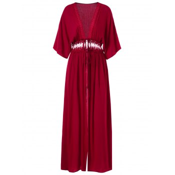 Lace Insert Open Front Maxi Coat - RED WINE M