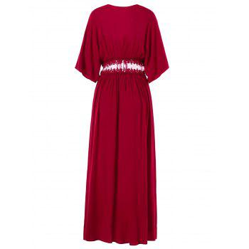 Lace Insert Open Front Maxi Coat - RED WINE L