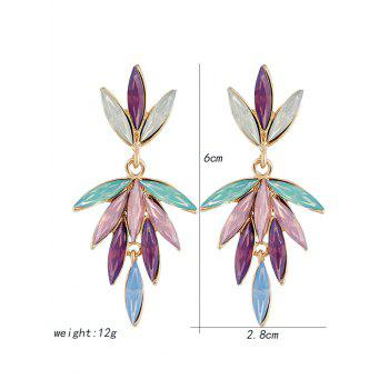 Unique Colored Faux Crystal Floral Drop Earrings - multicolor