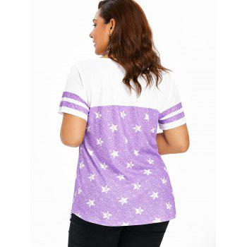Striped Short Sleeve Star Print Plus Size T-shirt - MAUVE L