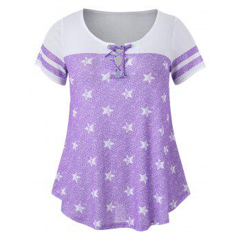 Striped Short Sleeve Star Print Plus Size T-shirt - MAUVE 4X